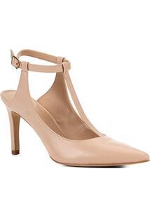 Scarpin Couro Shoestock Salto Alto Tira - Feminino-Nude