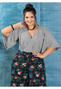 Body Transpassado Plus Size Listrado Marguerite