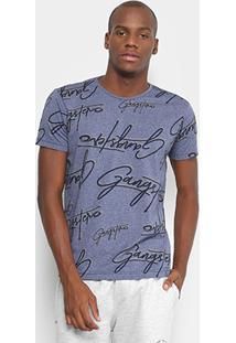 Camiseta Gangster Estampada Manga Curta Masculina - Masculino-Marinho