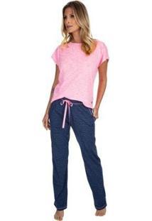 Pijama Com Manga Curta Strip Jeans Feminino - Feminino-Azul