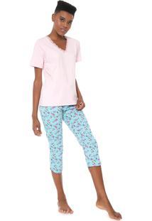 Pijama Malwee Liberta Floral Rosa/Azul
