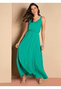 Vestido Longo Verde Acinturado Com Franzidos