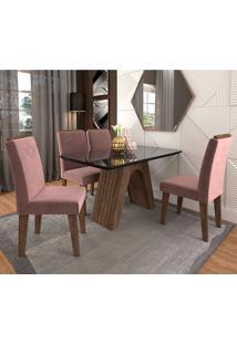 Conjunto De Mesa Clara Para Sala De Jantar Com 4 Cadeiras Taís Moldura -Cimol - Marrocos / Preto / Rose