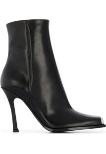 Calvin Klein 205W39Nyc Ankle Boot 'Wilamiona' De Couro - Preto