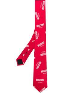 Moschino Gravata Com Logo Estampado - Vermelho