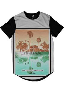 Camiseta Longline Long Beach Coleção Praias Venice Beach La Sublimada - Masculino-Preto