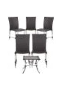 Jogo Cadeiras 5Un E Mesa De Centro Florida Para Edicula Jardim Area Varanda Descanso - Tabaco