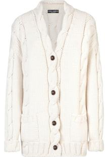 Dolce & Gabbana Cardigan De Tricô E Lã - Branco