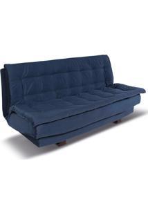 Sofá Cama 2 Lugares Elegance Reclinável Veludo Azul - Gran Belo