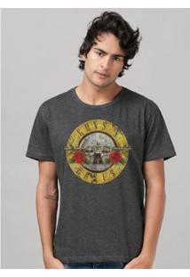 Camiseta Bandup Guns N Roses Bullet Mescla - Masculino-Mescla Escuro