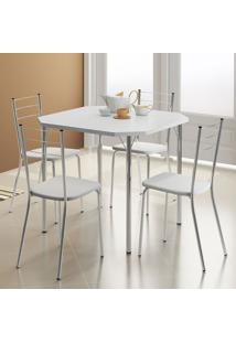 Mesa 1510 Branca Cromada Com 4 Cadeiras 1703 Branca Carraro