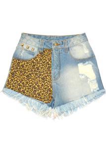 Shorts Ella Jeans Cintura Alta Oncinha Animal Print