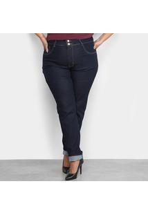 Calça Jeans Xtra Charm Plus Size Skinny + Cinta Modeladora Feminina - Feminino-Azul Escuro