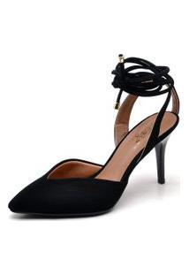 Sapato Ellas Online Scarpin Amarraçáo Preto