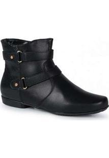 Ankle Boots Feminina Mooncity Tiras Preto