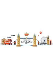 Adesivo De Parede Welcome To England- Bege & Azul- 6Evolux