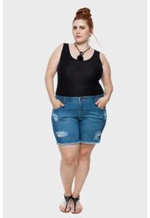 Shorts Jeans Attribute Stone Puídos Plus Size 48 Feminino - Feminino-Azul