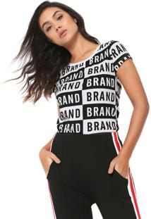 Camiseta Fiveblu Bicolor Lettering Branca/Preto