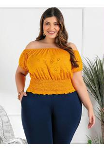 Blusa Plus Size Laranja Com Lastex