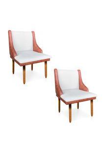 Kit 02 Cadeiras De Jantar Liz Corano Nozes Com Linho Grosso Bege A19 Pés Palito Castanho - D'Rossi