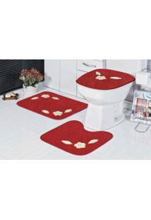 Jogo De Banheiro Guga Tapetes Margarida Unica 3 Pçs Vermelho