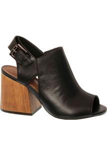 Sandal Boot Em Couro Preto Com Salto Bloco Madeira