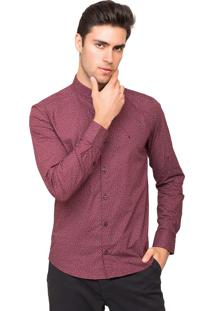 Camisa Slim Fit Tony Menswear Gola De Padre Estampada Bordô
