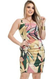 Vestido Clara Arruda Tubinho Decote Quadrado Feminino - Feminino