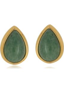 Brinco Le Diamond Pedra Natural Jade Gota Verde