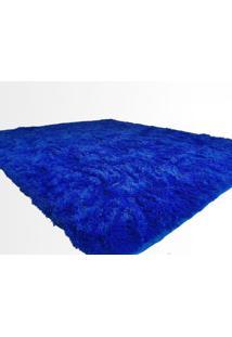 Tapete Saturs Shaggy Pelo Alto Azul - 50 X 100 Cm Tapete Para Sala E Quarto