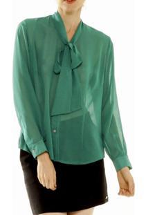 Camisa Unique Gola Laço Verde