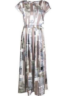 Peserico Slip Dress Com Estampa Collage - Neutro