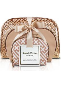 Kit De Necessaire Com 3 Peças Jacki Design Diamantes Dourada