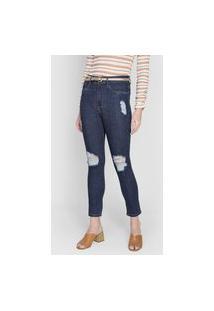 Calça Jeans Lança Perfume Skinny Estonada Azul-Marinho