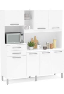 Cozinha Compacta Belém 7 Portas 2 Gavetas Com Balcão Politorno Móveis Branco