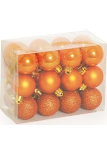 Enfeites De Natal Bolas Para Árvore Natal Kit 24 Bronze 3Cm - Tricae