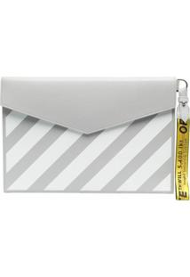 Off-White Clutch Com Listras Diagonais - Cinza