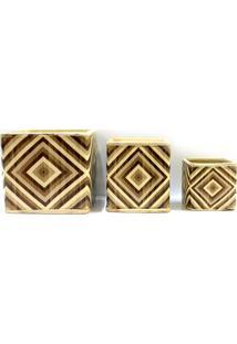 Conjunto De Cachepot Em Cerâmica Losangos Com 3 Peças