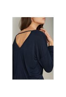 Blusa Com Decote Em V Profundo Em Modal Ultralight Com Seda - Azul G Intimissimi