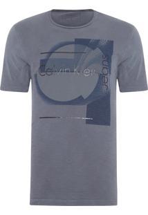 Camiseta Masculina Ckj Estampa E Costas Flame - Cinza