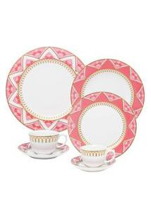 Aparelho De Jantar Chá E Café 42 Peças Flamingo Macramê