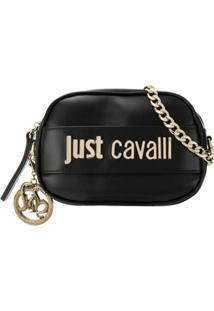 Just Cavalli Bolsa Transversal Com Placa De Logo - Preto