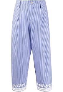 Ermanno Scervino Calça Cropped Com Bordado - Azul