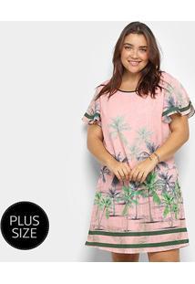 Vestido Curto Heli Tropical Plus Size Manga Curta - Feminino-Rosa Claro