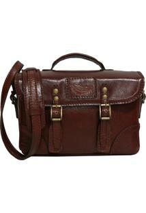 Bolsa Line Store Leather Case Couro Marrom Avermelhado - Marrom - Feminino - Dafiti