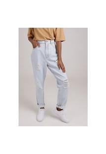 Calça Mom Jeans Delavê Claro Gang Feminina