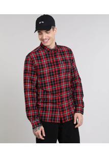 Camisa Masculina Estampada Xadrez Com Bolso Manga Longa Vermelha