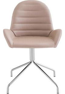 Cadeira Arm Slim Assento Estofado Dunas Fendi Com Base Cromada - 46887 Sun House