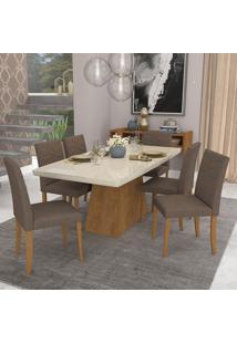 Conjunto De Mesa Helen 180X90Cm Com 6 Cadeiras Marina - Cimol - Savana / Off White / Chocolate