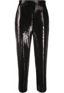 Karl Lagerfeld Calça Cropped Com Paetês - Preto